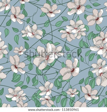 Seamless floral pattern with cherry blossom - stock vector