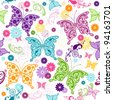 Seamless floral pattern with colorful butterflies and flowers (vector) - stock vector
