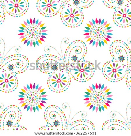 Seamless floral pattern with colorful butterflies and flowers(vector) - stock vector
