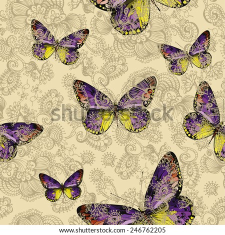 Seamless floral pattern with colorful butterflies, hand-drawing. Vector illustration. - stock vector