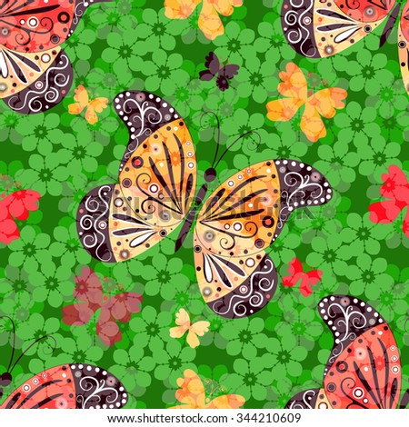 Seamless floral pattern with colorful butterflies (vector eps10) - stock vector
