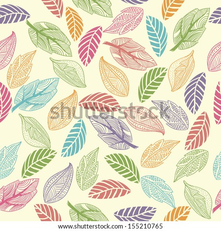 seamless  floral pattern with colorful leaves