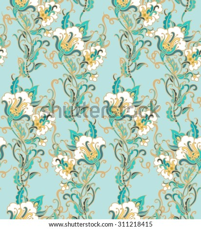 Seamless floral pattern with cotton flowers - stock vector