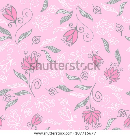 Seamless floral pattern with cute tiny flowers - stock vector