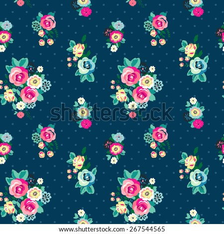 Seamless Floral Pattern with dots for girls in Vector  - stock vector