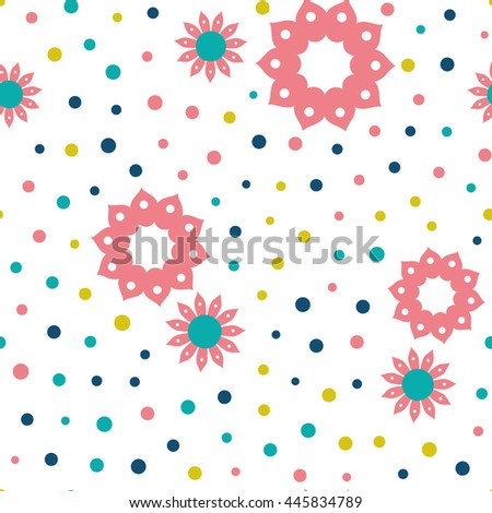 Seamless floral pattern with flowers and dots of fresh colors on a white background