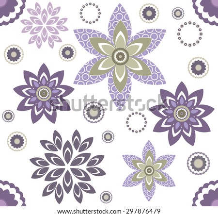 Seamless floral pattern with geometric stylized flowers. Template can be used to fabric design, wallpaper and decorative paper. - stock vector
