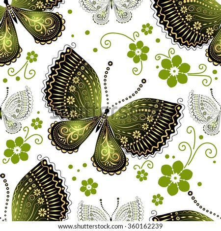 Seamless floral pattern with green and gold gradient butterflies, vector  - stock vector