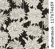 Seamless floral pattern with hand drawn chrysanthemum on black background. EPS 8 vector illustration. - stock vector