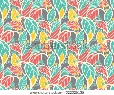 Seamless floral pattern with hand drawn leaves, vector illustration