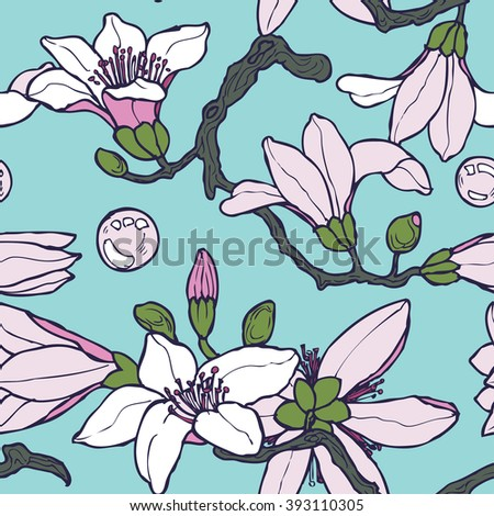 Seamless floral pattern with hand drawn magnolia in vector - stock vector