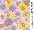 Seamless floral pattern with hand-drawn pansy - stock photo