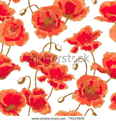 Seamless floral pattern with hand-drawn poppy flower on white background - stock vector