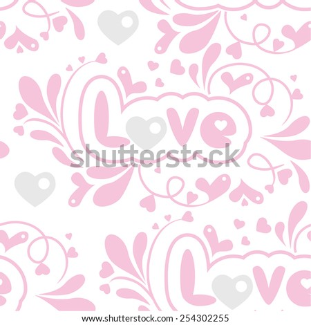 seamless floral pattern with hearts and Love lettering - stock vector