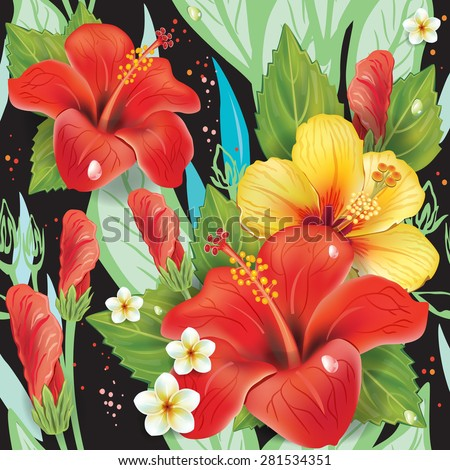 Seamless floral pattern with hibiscus on black - stock vector