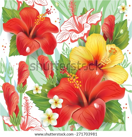Seamless floral pattern with hibiscus pattern - stock vector