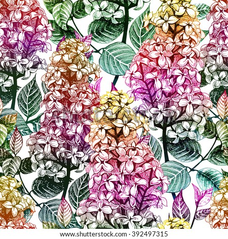 Seamless floral pattern  with lilac flowers. Vector illustration, EPS10. - stock vector