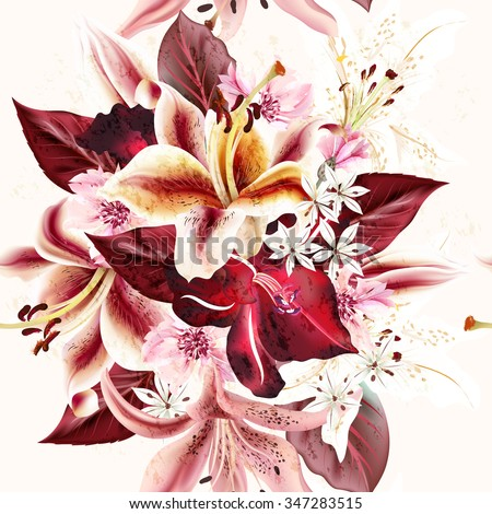 Seamless floral pattern with lily flowers in watercolor style vector illustration - stock vector