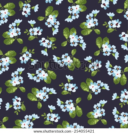 Seamless floral pattern with little blue flowers on black fonts. - stock vector