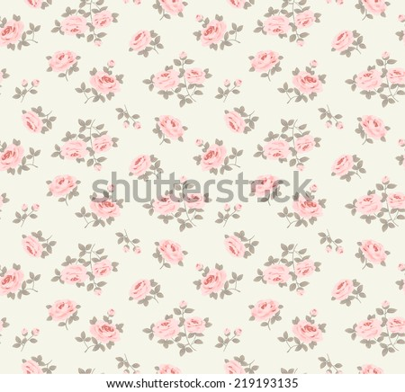 Seamless floral pattern with little roses - stock vector