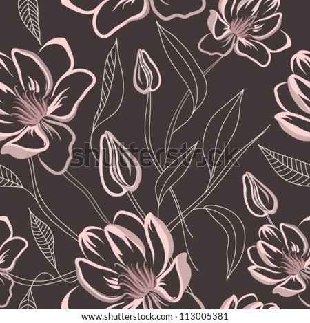 Seamless floral pattern with magnolia flowers - stock vector