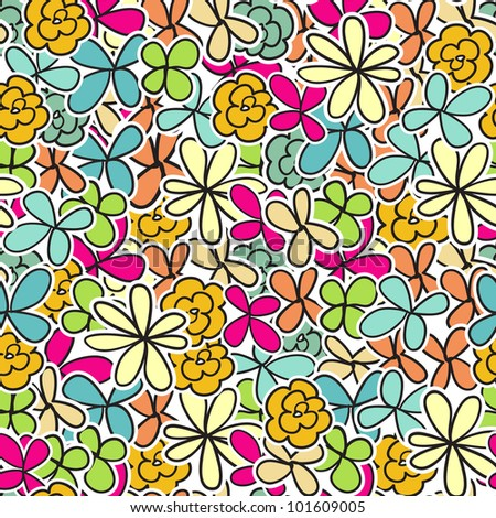 Seamless floral pattern with multicolored flowers - stock vector