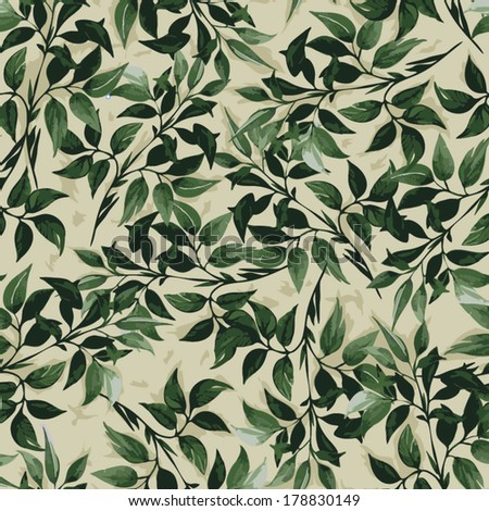 Seamless floral pattern with of green ficus leaves. - stock vector