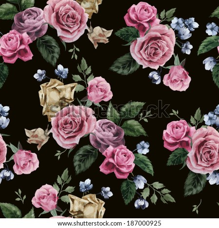 Seamless floral pattern with of pink roses on black background, watercolor. Vector illustration. - stock vector