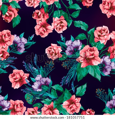 Seamless floral pattern with of pink roses. Vector background. - stock vector