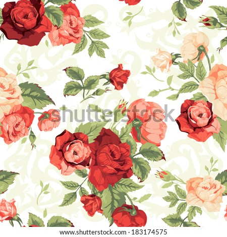Seamless floral pattern with of red and orange roses on white background. Vector illustration. - stock vector