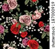 Seamless floral pattern with of red and pink roses on black background, watercolor. Vector illustration. - stock