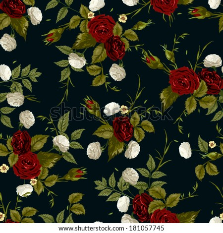 Seamless floral pattern with of red and white roses on black background. Vector illustration. - stock vector