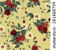 Seamless floral pattern with of red and white roses. Vector illustration. - stock vector