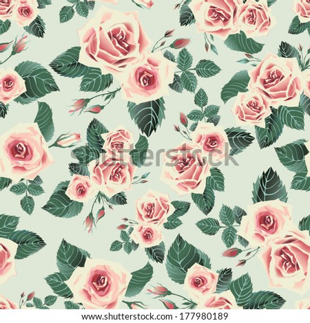 Seamless floral pattern with of yellow roses - stock vector
