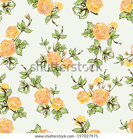 Seamless floral pattern with of yellow roses on light background - stock vector