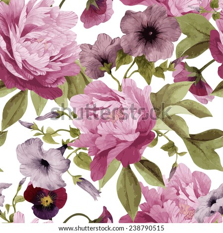 Seamless floral pattern with pansy,  convolvulus and peonies, watercolor. Vector illustration.  - stock vector