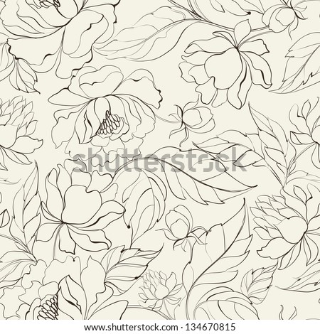 Seamless floral pattern with Peony. Vector illustration. - stock vector