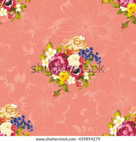 Seamless floral pattern with peony Vector Illustration EPS8 - stock vector