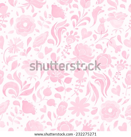 Seamless floral pattern with pink flowers and hearts. Vintage ornament. Watercolor illustration. Vector format. - stock vector