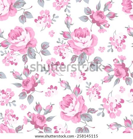 Seamless floral pattern with pink rose and grey leaves  - stock vector