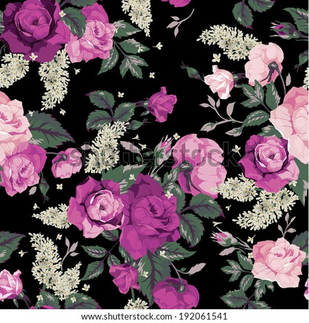 Seamless floral pattern with pink roses on black background, watercolor. Vector illustration. - stock vector