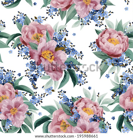 Seamless floral pattern with pink roses on white background. Vector illustration. - stock vector