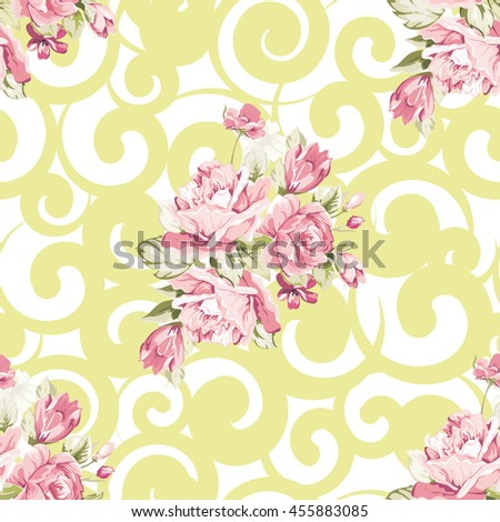 Seamless floral pattern with pink roses Vector Illustration EPS8 - stock vector