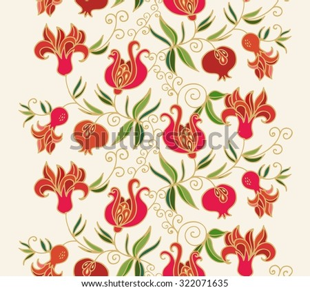 Seamless floral pattern with pomegranates - stock vector