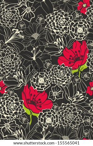 Seamless Floral Pattern With Red Flowers On Monochrome Background  - stock vector