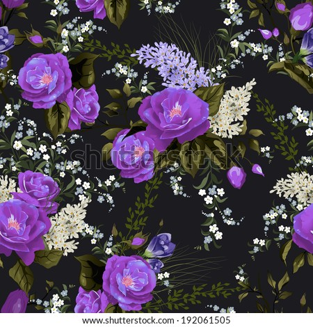Seamless floral pattern with roses and lilac on black background. Vector illustration. - stock vector