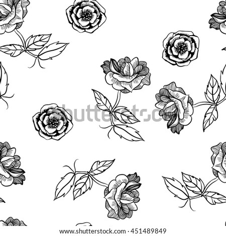 Seamless floral pattern with roses. Ink drawn vector illustration in realistic style for prints, fabric, wrapping, backgrounds and other design. Hand drawn flowers.
