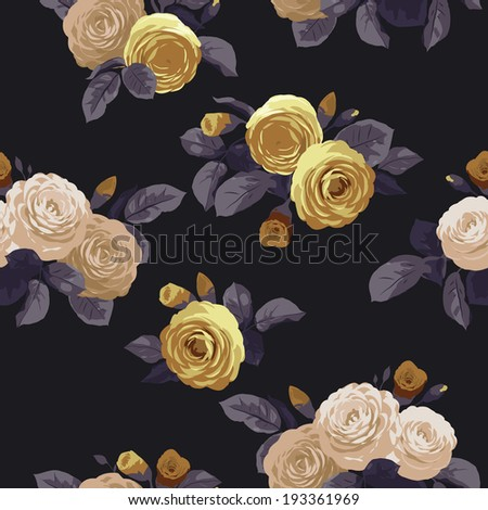 Seamless floral pattern with roses on black  background. Vector illustration. - stock vector
