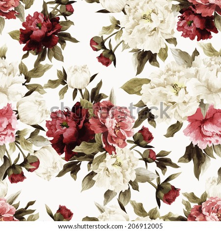 Seamless floral pattern with roses on white background, watercolor. Vector illustration. - stock vector
