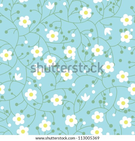 Seamless floral pattern with small daisies - stock vector